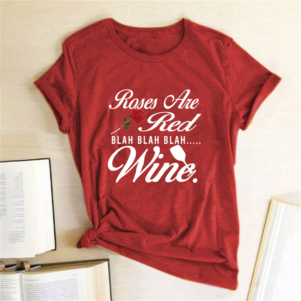 Roses Are Ted Blah <font><b>Wine</b></font> T-<font><b>shirt</b></font> <font><b>Red</b></font> Rose Print Tshirt Fashion Valentine's Day Casual Drinking Lover Tumlbr Grunge <font><b>Shirt</b></font> Tee Top image