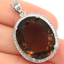 25x20mm Big Oval Gemstone 22x18mm Smoky Topaz CZ Woman's Party Silver Pendant