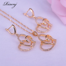 Necklace-Set Jewelry Drop-Earrings Gift Dubai Gold-Color Women Heart Engagement for Square