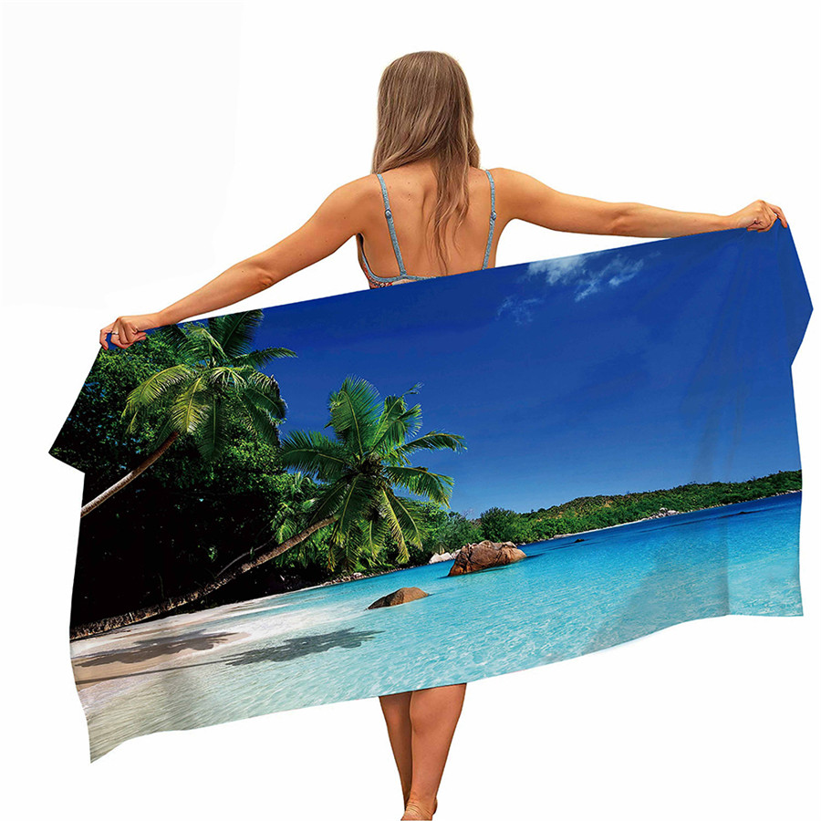 HELENGILI Beach Coco Microfiber Pool Beach Towel Portable Quick Fast Dry Sand Outdoor Travel Swim Blanket Thin Yoga Mat