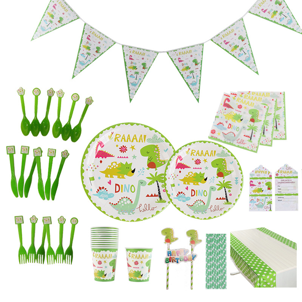 Paper Disposable Tableware Set Dinosaur Theme Party Supplies For Children Birthday Party Toys Plate Cup Straw Flag Cover Sets