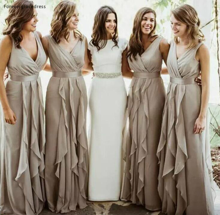 2019 Chiffon Bridesmaid Dress V Neck Pleated Country Garden Formal Party Guest Maid of Honor Gown Plus Size Custom Made