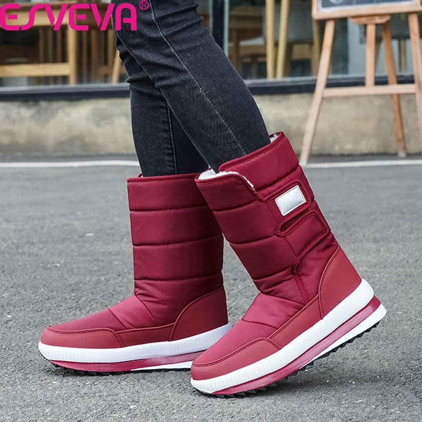 ESVEVA 2020 kama topuk PU deri aşağı Antiskid kadın ayakkabı kış sıcak kürk yuvarlak ayak platformu rahat orta buzağı botları boyutu 36-41