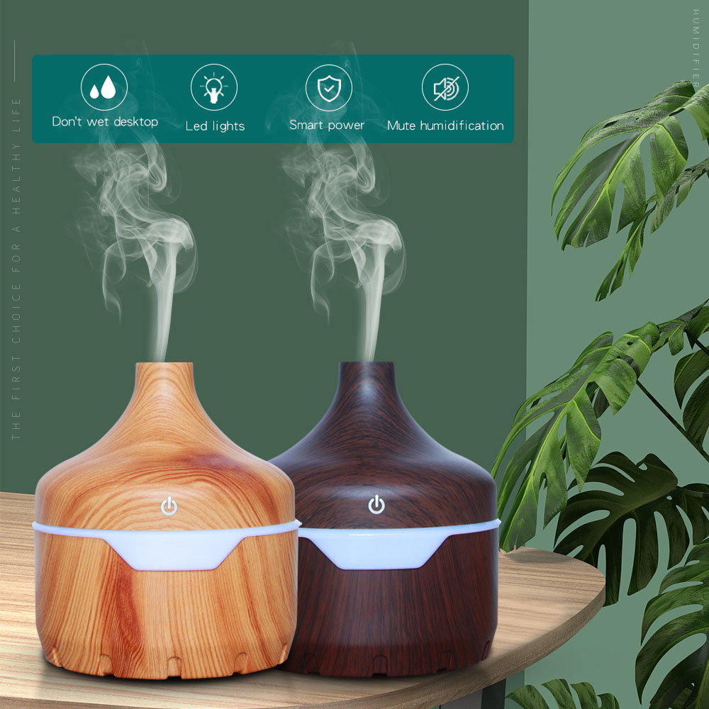 300ml USB Electric Humidifier Essential Aroma Oil Diffuser Ultrasonic Wood Grain Air Humidifier USB Mini Mist Maker LED Light