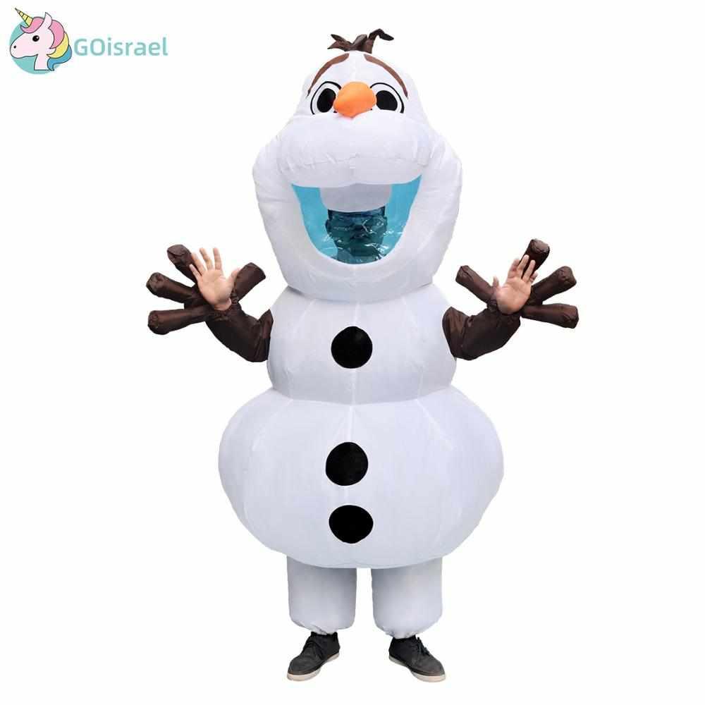 Рождественский надувной костюм снеговика Олафа для взрослых женщин и мужчин на Хэллоуин, вечерние, карнавальные, маскарадные костюмы, кост...