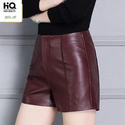 Skinny High Waist Womens Shorts Genuine Leather Motorcycle Trousers Female Office Ladies Casual Slim Fit Shorts Plus Size S-4XL