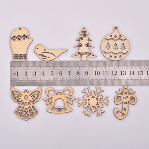 Image 2 - JUNAO 25 35mm Mix Shape Wooden Snowflakes Christmas Decoration for Home Xmas Hanging Ornaments Kids Gifts New Year Decorations