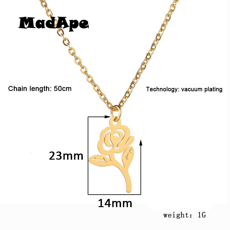 MadApe Beautiful Rose Flower Pendant Necklace Gold Flower 316L Stainless Steel Choker For Women Sweater Chain Dropshipping