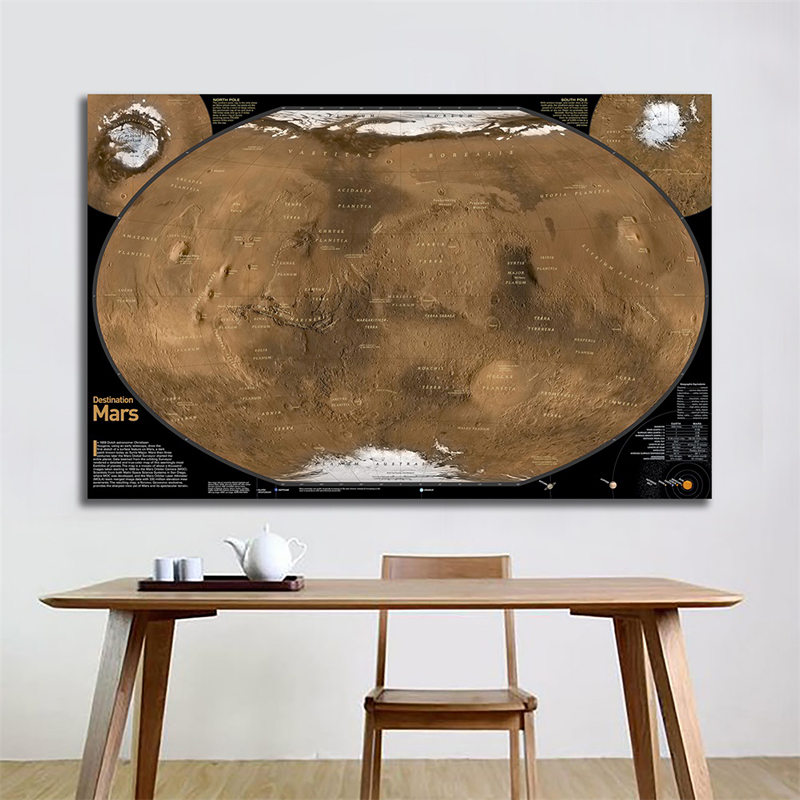 Mars Ground Map Satellite Shot With Geographic Equivalents For Astronomical Research 150x100cm