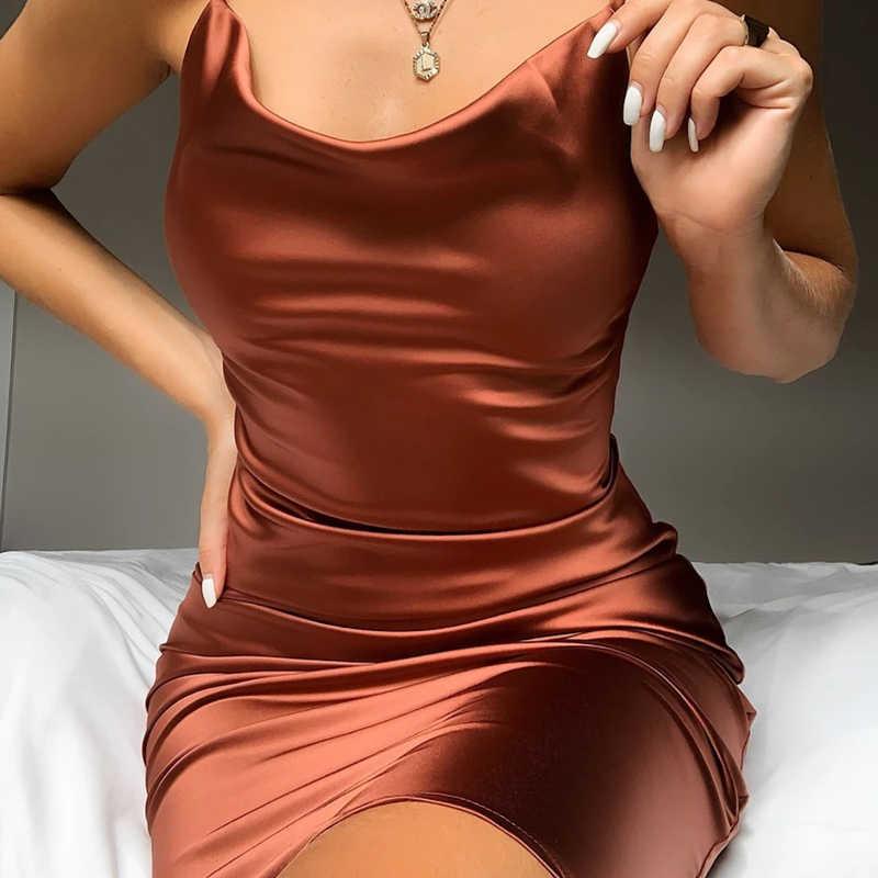 네온 새틴 레이스 여름 여성 긴 미디 드레스 민소매 다시 우아한 파티 복장 섹시한 클럽 옷 빈티지 반 옷