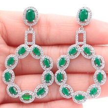New Arrival Long Big Real Green Emerald Ladies Wedding Silver Stud Earrings52X28mm