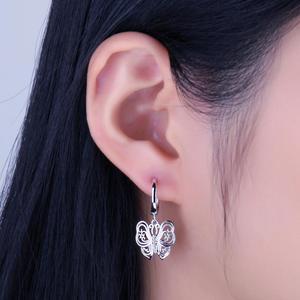 Image 4 - JPalace Vintage Butterfly CZ Dangle Drop Earrings 925 Sterling Silver Earrings For Women Korean Earings Fashion Jewelry 2020