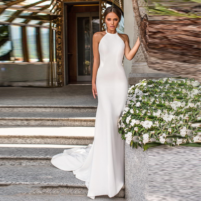 Verngo Mermaid Simple Wedding Dress Ivory Stain Wedding Gowns Elegant Backless Bride Dress Vestido De Noiva Sereia