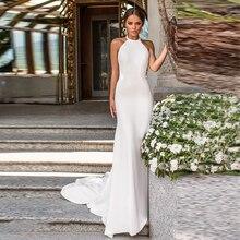 Verngo Mermaid Simple Wedding Dress Ivory Stain Gowns Elegant Backless Bride Vestido De Noiva Sereia