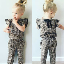 Kids Clothes Set Baby Girls Milk Silk Jumpsuit Summer Casual Clothing Set Flutter Sleeve Leopard One-Piece Romper contrast tipping flutter sleeve wrap jumpsuit