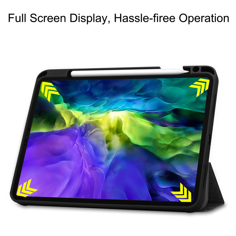 iPad 2020 Textured Cloth With Holder Soft TPU Stand Smart Pencil Case + Pro For Funda 11