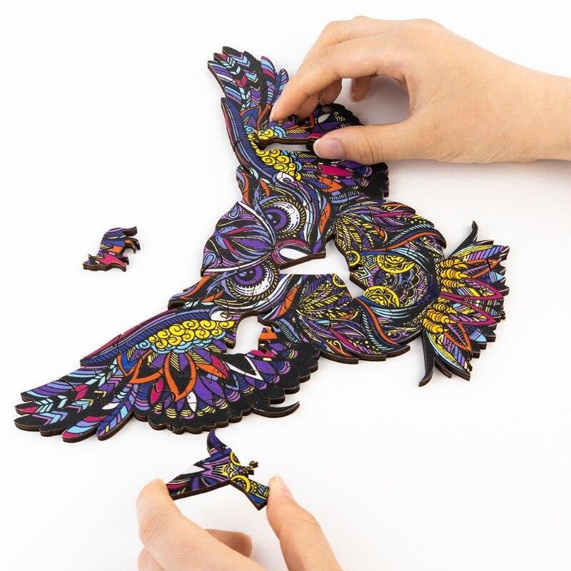 quebra cabeca colecionavel de madeira q9qb coruja voadora 04