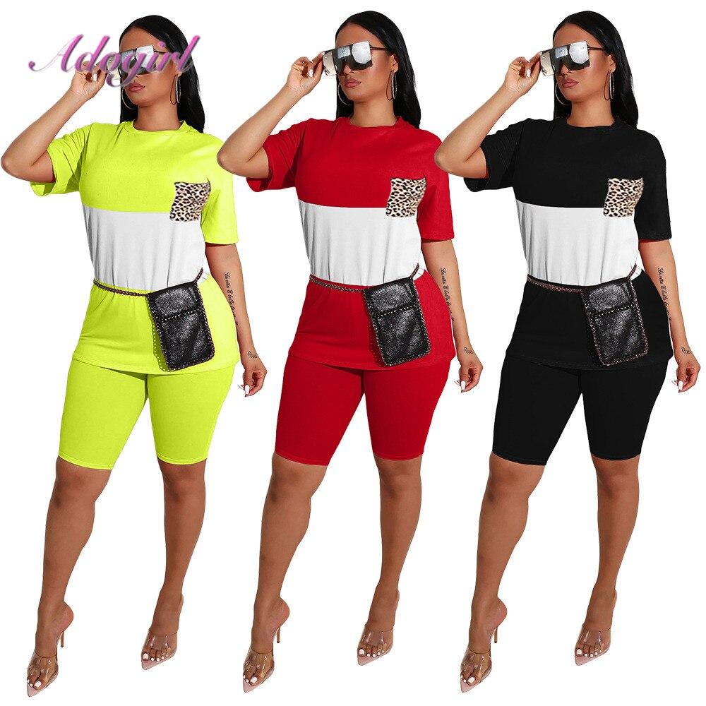 Women Tracksuit Casual Patchwork Leopard Print Pocket Short Sleeve + Bikers Loose Pants Suit Sport Two Piece Set Outfit Jogging