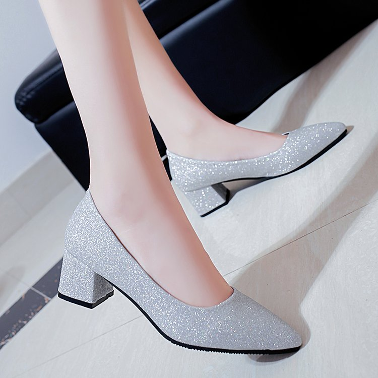Women's Shoes Spring Autumn New Thick With Work Shoes Korean Wild Shallow Mouth Pointed Sequin Shoes Silver Banquet High Heels