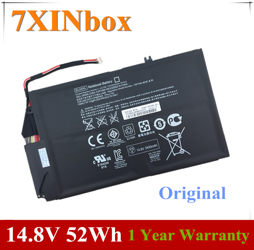 7XINbox 14.8V 52wh EL04XL Laptop Battery For HP ENVY TPN-C102 HTSNN-UB3R IB3R 4 681879-1C1 681949-001 HSTNN-IB3R TPN-C102