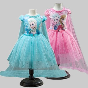 Girl Dresses Summer Baby Kid Clothes Princess Anna Elsa Dress For Girls Shiny Snow Queen Cosplay Costume Party Children Clothing(China)