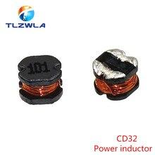 10 pces cd32 indutor de potência 2.2/3.3/4.7/6.8/10/15/22/47/100uh smd indutância núcleo de cobre