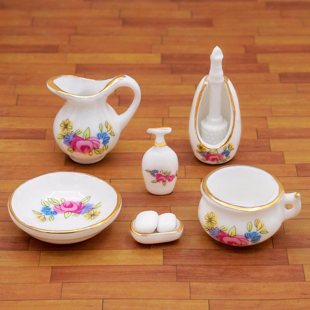 RainbowBeauty 01.12 Puppenhaus Miniatur Badezimmer Kit Seifenspender Shampoo Set Exquisite Blumenmuster Mindest Porzellan Bad-Accessoires 1Set