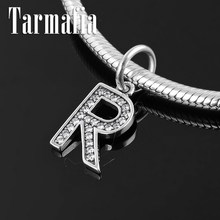 High quality Crystal CZ beads Letter R 925 Sterling Silver Charms Pendant fit Original Pandora Bracelet Necklace Jewelry making(China)