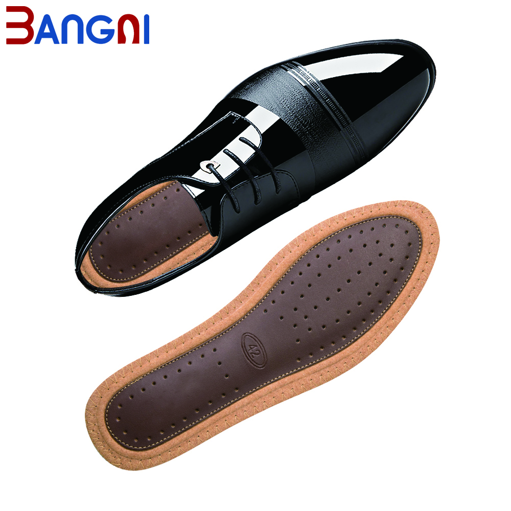 3ANGNI New Business Men Cowhide Leather Insoles Bamboo Charcoal Deodorant Shoe Pad EVA Shock Absorption Comfortable For Foot.