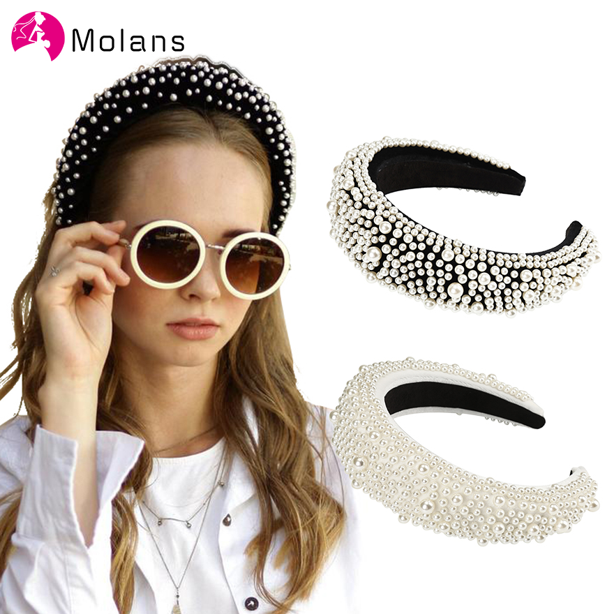 MOLANS Velvet Pearl Matador Padded Headbands Pearls Embellished Soft Velvet Headbands Women 4.5cm Wide Goth Wedding Headpiece