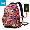 Hot USB Charging Laptop Women's Backpack For Teenage Students Girls School Backpack Printing Female Travel Bagpack