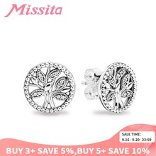 MISSITA 100% 925 Sterling Silver Tree of Life Earrings For Women Silver Jewelry Brand Wedding Stud Earrings Party Gift(China)