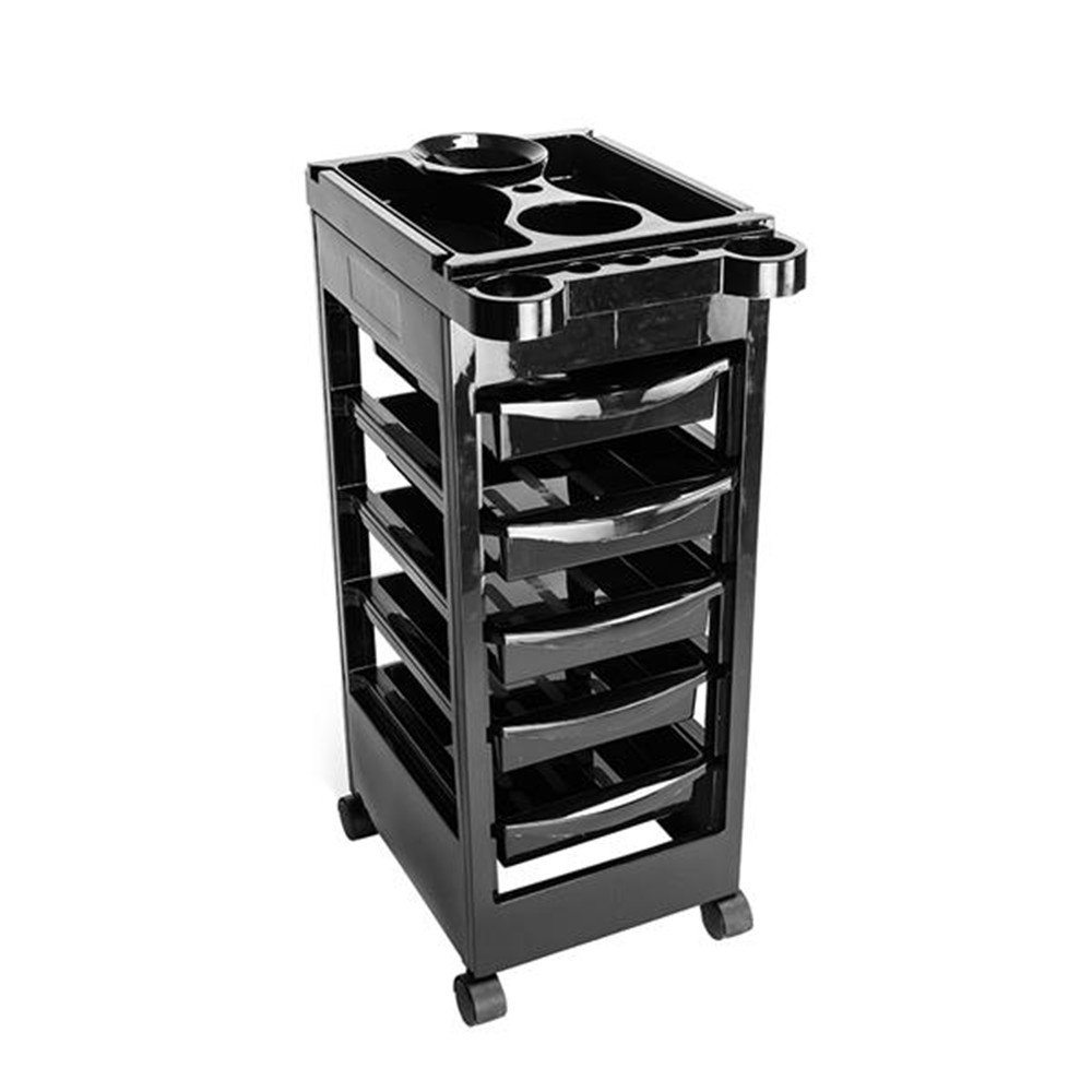 5 Tiers Removable Portable Plastic Hairdresser Beauty Storage Trolley Black Placement Hair Beauty Tools Barber Tools