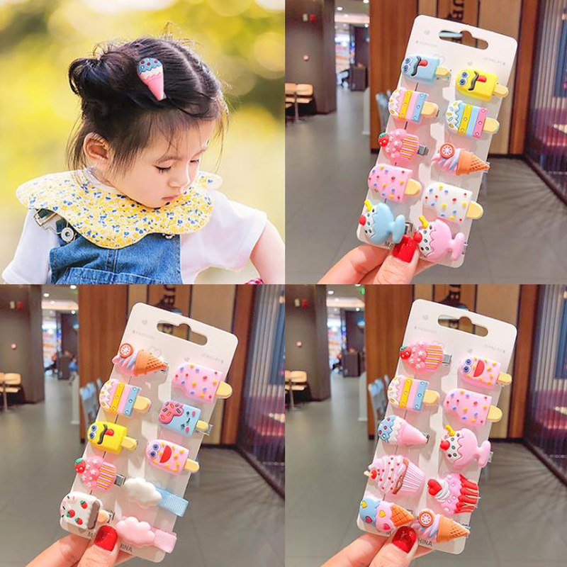 10Pcs/Set Candy Color Ice Cream Hairpin Headdress For Girl Children Unicorn Fruit Flower Hair Clip Kids Cartoon Hair Accessories