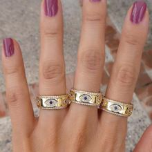 Engraved CZ Evil Eye Gold Color Wide Engagement Band Rings For Lady Women Party Gift Finger Jewelry Classic Summer Lucky Ring