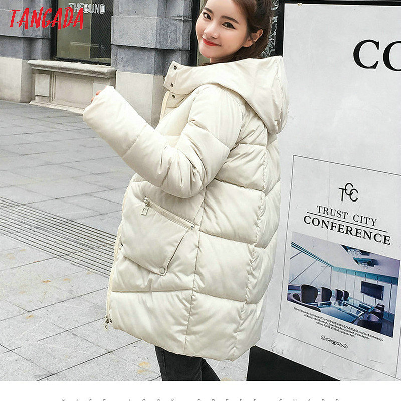 Tangada women oversized Cotton Padded   parkas   casual long sleeve female 2019 winter hooded Thicken AMK03