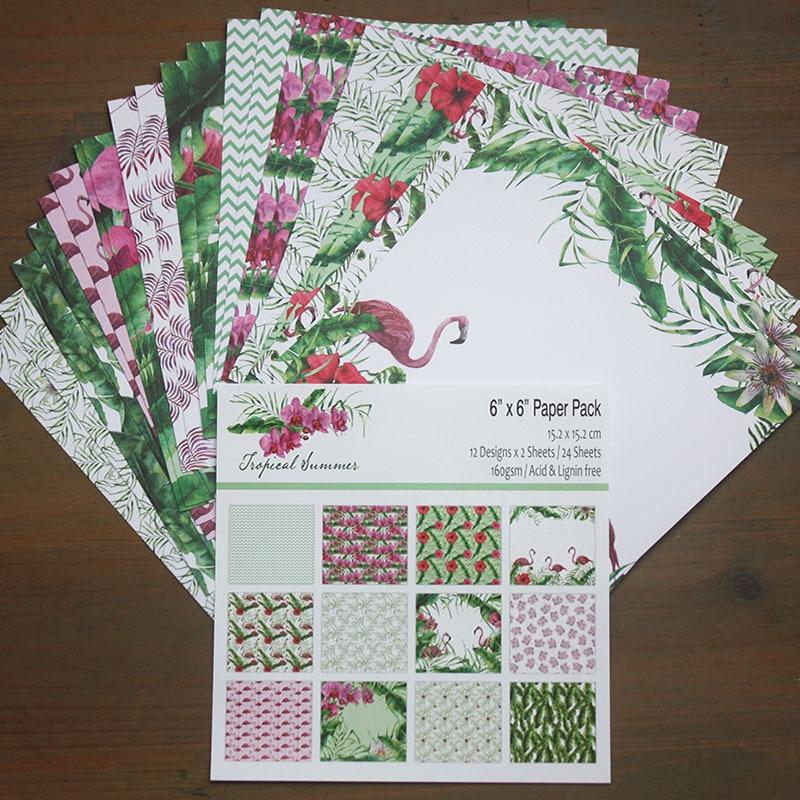 24 blatt Schwan Flamingo Scrapbooking hintergrund papier 6 zoll muster papier material für DIY foto album sammelalbum junk journal