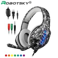 Auriculares de camuflaje para PS4 cascos de graves profundos para juegos por cable, con micrófono para ordenador, ordenador, teléfono y portátil
