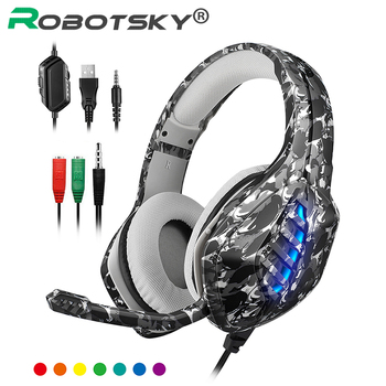 Camouflage PS4 Wired Gaming Headphone Deep Bass Headset Computer Gamer Earphone Headsets With Mic For PC Computer Phone laptop