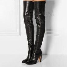 LAIGZEM femmes cuissardes hiver côté Zip talons épais fête bottes décontractées sur genou chaussures femme Botine grande taille 45 46 47