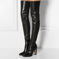 LAIGZEM Women Thigh High Boots Winter Side Zip Chunky Heels Party Casual Boots Over Knee Shoes Woman Botine Large Size 45 46 47