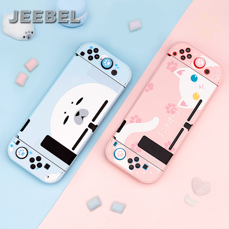For Nintendo Switch Case Cute Seal Cat Full Cover Shell Joy-Con Controller Shell Hard Cover Box For Nintendo Switch Accessories