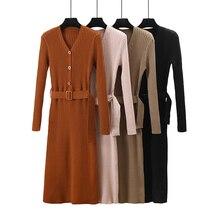 HLBCBG Women Long Sweater Sexy V Neck Pullover Tops Slim Long Sleeve Femame Jumper with Sashes OL Ladies Coat Pull Femme