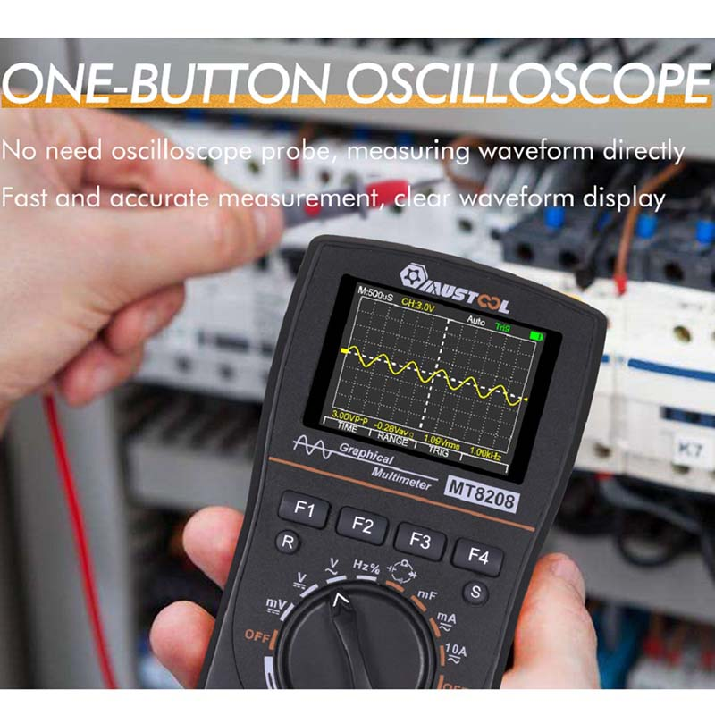 Tools : Upgraded MUSTOOL MT8208 2 In 1 HD Intelligent Digital Multimeter Graphical Oscilloscope 2 5Msps Sampling Rate Electronic Test