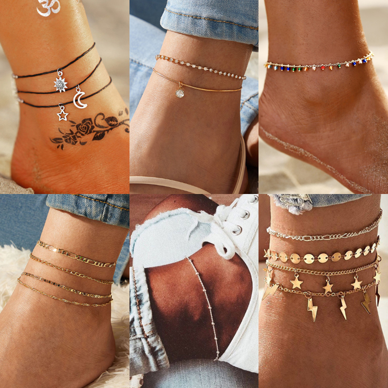 IF YOU Bohemian Beads Anklets for Women Boho Colorful Stone Crystal Shell Anklet 2020 Ankle Bracelet on Leg Anklet Jewellery