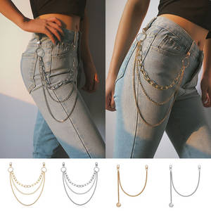 Belt-Pants Women Jeans Long Ladies Punk Metal for Chain Accessories 1-3layers Hip-Hop