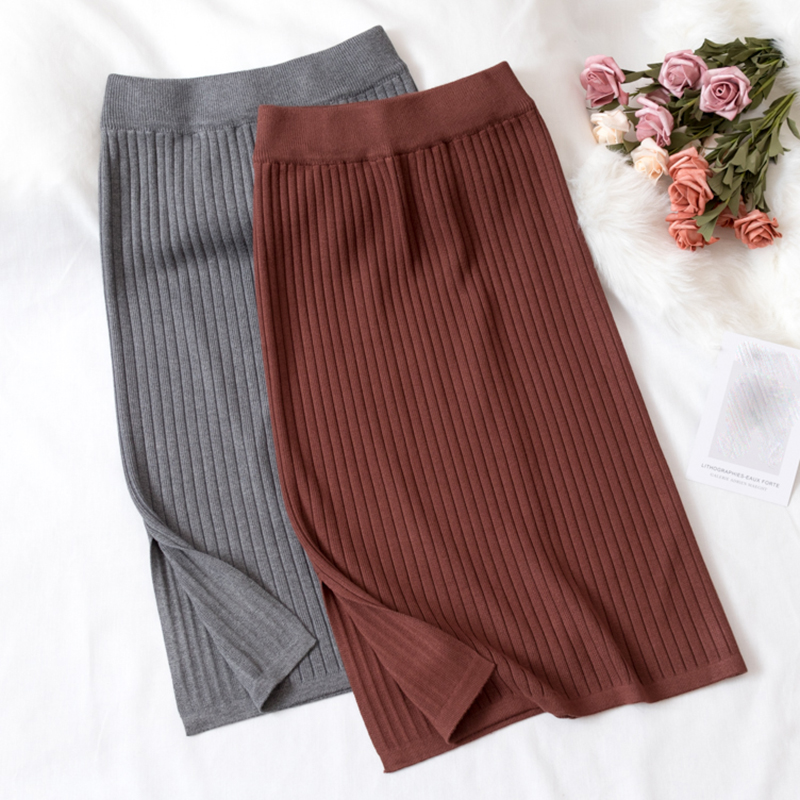 Women's Bodycon Split Knitted Skirt Autumn Black High Waist Pencil Midi Skirts Women 2020 Spring Elegant Knitting Bottoms Female