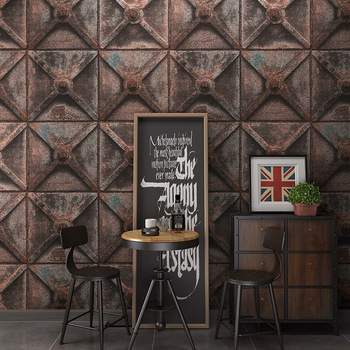 10m waterproof vintage flowers and bricks wallpaper for bedroom living room office kitchen wall papers home decor bedroom decor 10m waterproof retro metal industrial style PVC wallpaper for bedroom living room office kitchen wall papers home decor bedroom