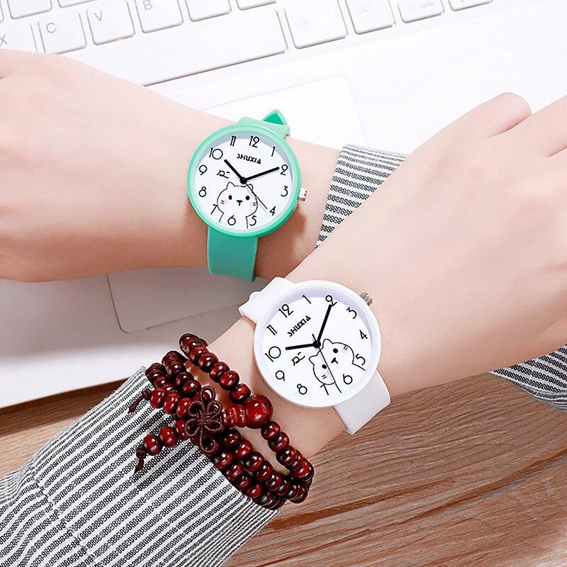 New Cute Cat Kids Quartz Watches Life Waterproof Analog Wristwatches Jelly Clock Boys Hours Girls Students Watch Children Clock