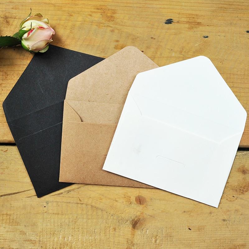 50 шт/1 Набор Белый Коричневый черная крафт-бумага конверты винтажный Европейский стиль конверт для карты Скрапбукинг подарок